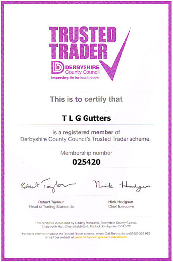 TLG Gutter Leeds | Member of the Trusted Trader Scheme for Derbyshire County Council